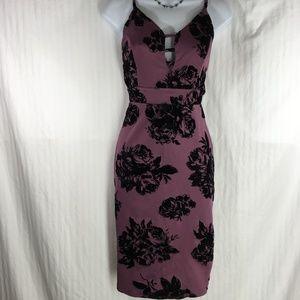 Haute Monde dress black velvet flowers sz L (Ex)